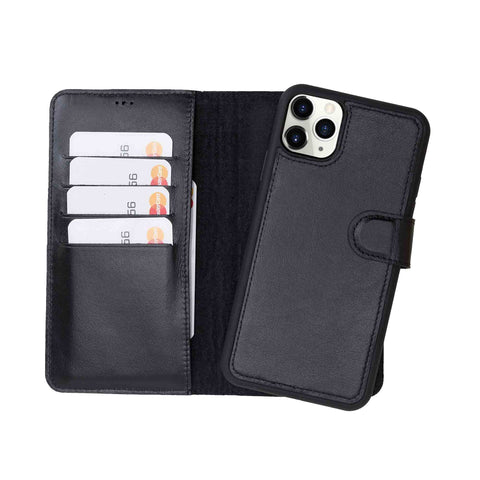 "Magic Magnetic Detachable Leather Wallet Case for iPhone 11 Pro Max (6.5"") - BLACK - saracleather"
