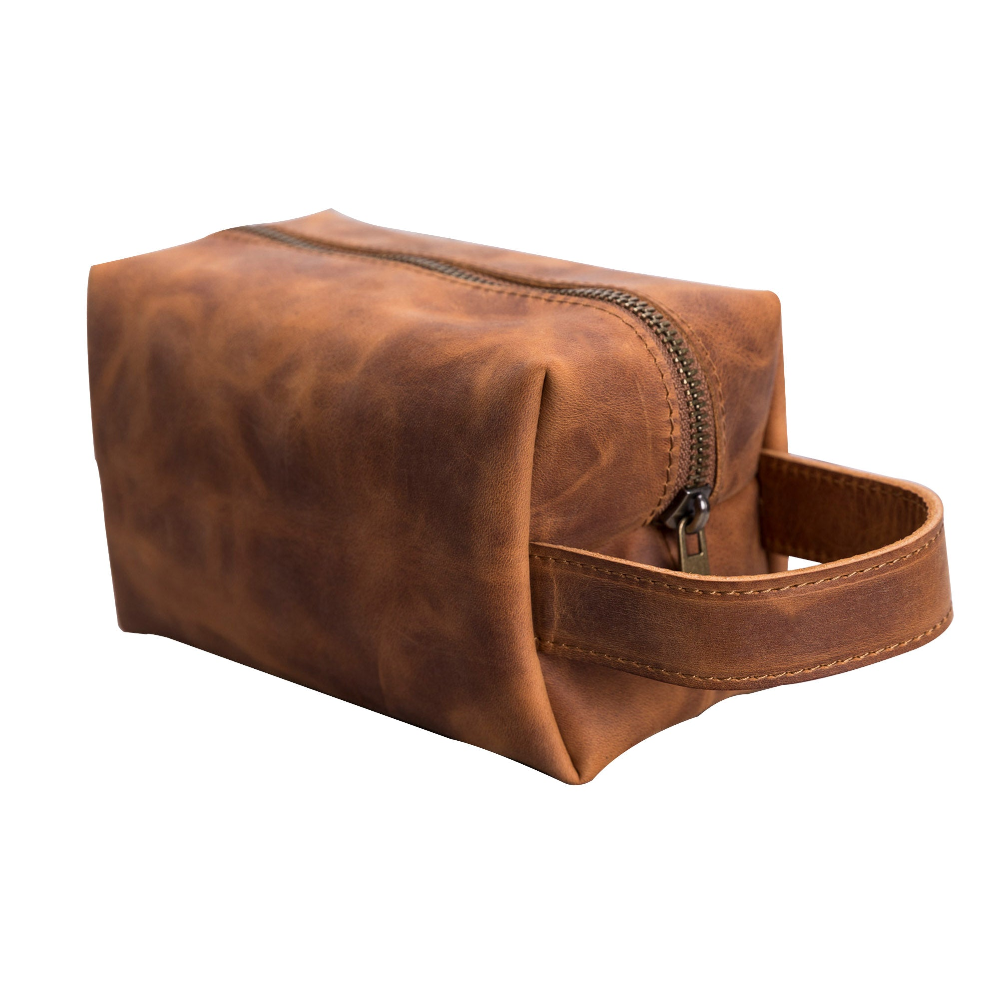 Eve Toiletry / Make Up Leather Bag (Large) - TAN - saracleather
