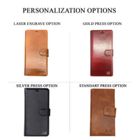 "Wallet Folio Leather Case with RFID for iPhone 12 Pro Max (6.7"") - BROWN - saracleather"