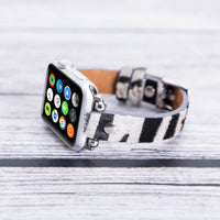 Ferro Strap - Full Grain Leather Band for Apple Watch 38mm / 40mm - FURRY ZEBRA PATTERNED - saracleather