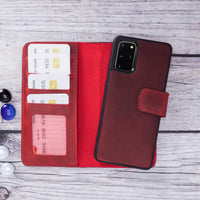 "Liluri Magnetic Detachable Leather Wallet Case for Samsung Galaxy S20 Plus (6.7"") - RED - saracleather"