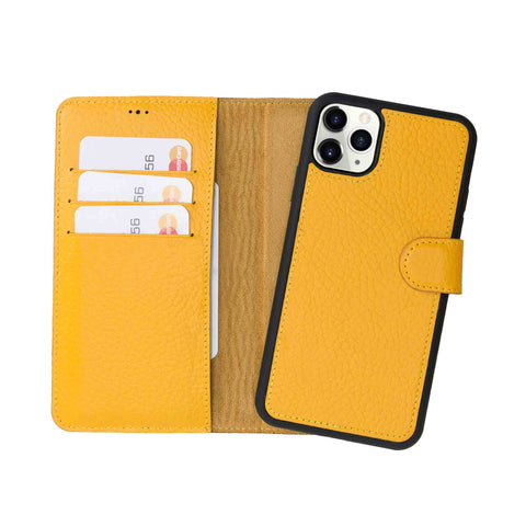 "Magic Magnetic Detachable Leather Wallet Case for iPhone 11 Pro (5.8"") - YELLOW - saracleather"