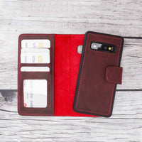 Liluri Magnetic Detachable Leather Wallet Case for Samsung Galaxy S10 Plus - RED - saracleather