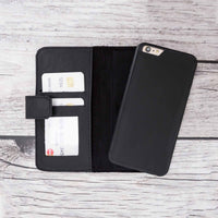 Liluri Magnetic Detachable Leather Wallet Case for iPhone 6 Plus / 6S Plus - BLACK - saracleather