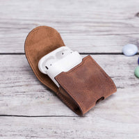 Mai Magnet Leather Case for AirPods 1 & 2 - BROWN - saracleather