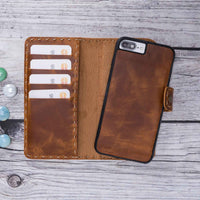 Adel Magnetic Detachable Leather Wallet Case for iPhone 8 Plus / 7 Plus - TAN