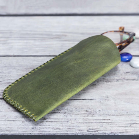Leather Case For Glasses - GREEN - saracleather