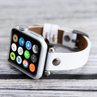 Ferro Strap - Full Grain Leather Band for Apple Watch 38mm / 40mm - WHITE - saracleather