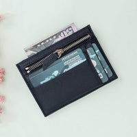 Slim Zipper Leather Wallet - NAVY BLUE - saracleather