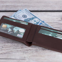 Pier Leather Men's Bifold Wallet - DARK BROWN - saracleather