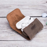 Mai Magnet Leather Case for AirPods Pro - BROWN - saracleather