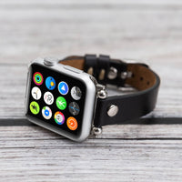 Ferro Strap - Full Grain Leather Band for Apple Watch 38mm / 40mm - BLACK - saracleather