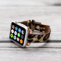 Ferro Strap - Full Grain Leather Band for Apple Watch 38mm / 40mm - FURRY LEOPARD PATTERNED - saracleather