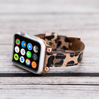 Ferro Strap - Full Grain Leather Band for Apple Watch 38mm / 40mm - LEOPARD PATTERNED - saracleather