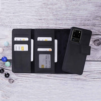 "Santa Magnetic Detachable Leather Tri-Fold Wallet Case for Samsung Galaxy S20 Ultra (6.9"") - BLACK - saracleather"