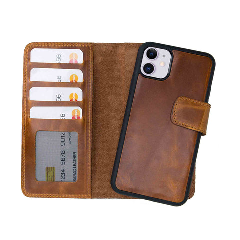 "Liluri CC Magnetic Detachable Leather Wallet Case for iPhone 11 (6.1"") - TAN - saracleather"