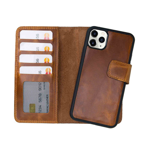 "Liluri CC Magnetic Detachable Leather Wallet Case for iPhone 11 Pro Max (6.5"") - TAN - saracleather"