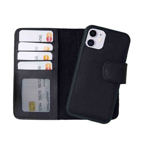 "Liluri Magnetic Detachable Leather Wallet Case for iPhone 11 (6.1"") - BLACK - saracleather"