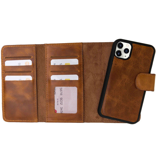 "Santa Magnetic Detachable Leather Tri-Fold Wallet Case for iPhone 11 Pro Max (6.5"") - TAN - saracleather"