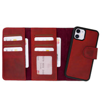 "Santa Magnetic Detachable Leather Tri-Fold Wallet Case for iPhone 11 (6.1"") - RED - saracleather"