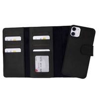 "Santa Magnetic Detachable Leather Tri-Fold Wallet Case for iPhone 11 (6.1"") - BLACK - saracleather"