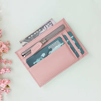 Slim Zipper Leather Wallet - PINK - saracleather