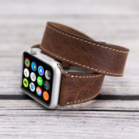 Double Tour Strap: Full Grain Leather Band for Apple Watch 38mm / 40mm - BROWN - saracleather