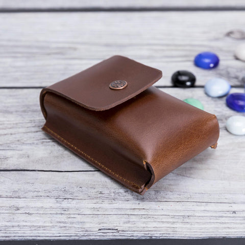 Troy Leather Case for Cigarette - BROWN - saracleather