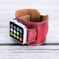 Cuff Strap: Full Grain Leather Band for Apple Watch 38mm / 40mm - EFFECT RED - saracleather