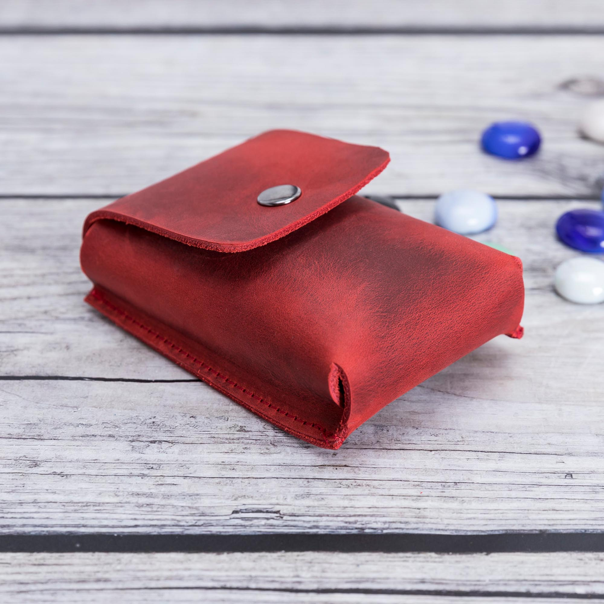 Troy Leather Case for Cigarette - RED - saracleather