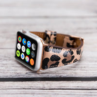 Slim Strap - Full Grain Leather Band for Apple Watch 38mm / 40mm - LEOPARD PATTERNED - saracleather