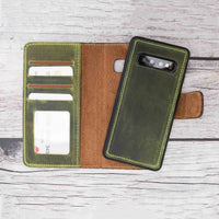 Liluri Magnetic Detachable Leather Wallet Case for Samsung Galaxy S10 Plus - GREEN - saracleather
