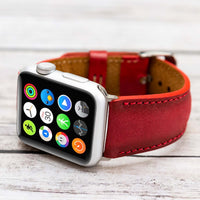 Full Grain Leather Band for Apple Watch 38mm / 40mm - EFFECT RED - saracleather