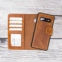 Liluri Magnetic Detachable Leather Wallet Case for Samsung Galaxy S10 Plus - TAN - saracleather
