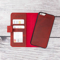 Liluri Magnetic Detachable Leather Wallet Case for iPhone 6 Plus / 6S Plus - RED - saracleather