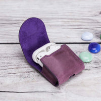 Mai Magnet Leather Case for AirPods 1 & 2 - PURPLE - saracleather