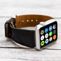 Full Grain Leather Band for Apple Watch 38mm / 40mm - BLACK - saracleather