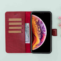 "Magic Magnetic Detachable Leather Wallet Case for iPhone XS Max (6.5"") - RED - saracleather"
