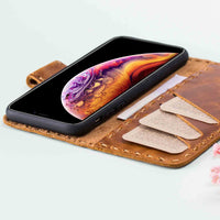 "Flora Leather Wallet Case for iPhone XS Max (6.5"") - TAN - saracleather"