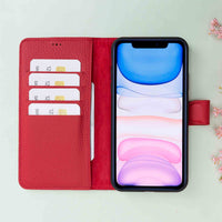 "Magic Magnetic Detachable Leather Wallet Case for iPhone 11 (6.1"") - RED - saracleather"