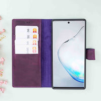 Magic Magnetic Detachable Leather Wallet Case for Samsung Galaxy Note 10 - PURPLE - saracleather