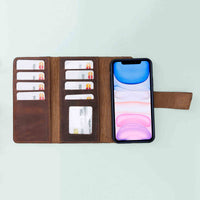 "Santa Magnetic Detachable Leather Tri-Fold Wallet Case for iPhone 11 (6.1"") - BROWN - saracleather"