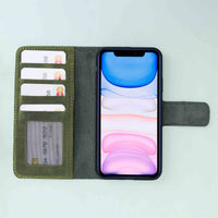 "Liluri Magnetic Detachable Leather Wallet Case for iPhone 11 Pro Max (6.5"") - GREEN - saracleather"