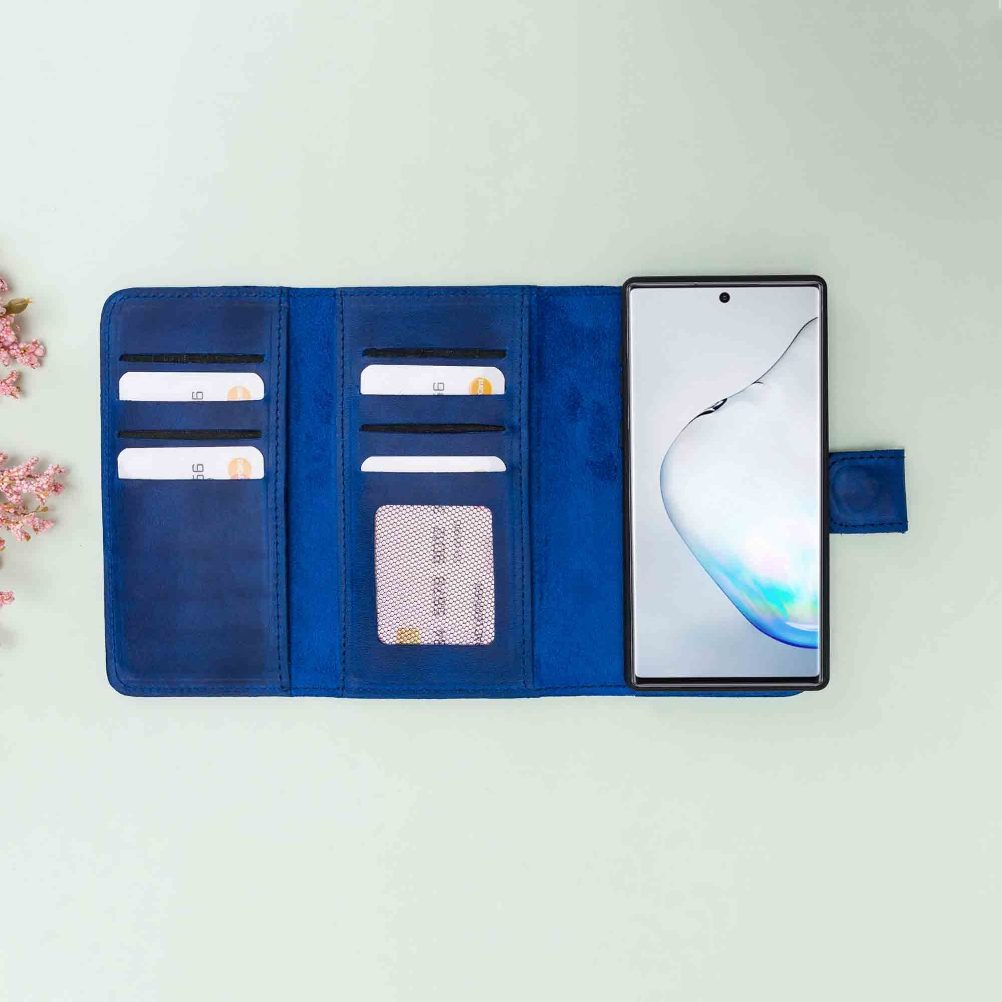 Santa Magnetic Detachable Leather Tri-Fold Wallet Case for Samsung Galaxy Note 10 - BLUE - saracleather