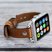 Ferro Strap - Full Grain Leather Band for Apple Watch 38mm / 40mm - TAN - saracleather