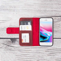 Liluri Magnetic Detachable Leather Wallet Case for iPhone SE / 5S / 5 - RED - saracleather