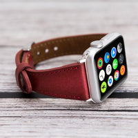 Slim Strap - Full Grain Leather Band for Apple Watch 38mm / 40mm - EFFECT RED - saracleather