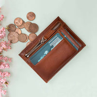 Slim Zipper Leather Wallet - EFFECT BROWN - saracleather