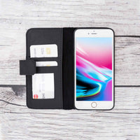Liluri Magnetic Detachable Leather Wallet Case for iPhone 6 / 6S - BLACK - saracleather