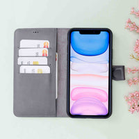 "Magic Magnetic Detachable Leather Wallet Case for iPhone 11 Pro Max (6.5"") - EFFECT GRAY - saracleather"